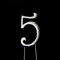 Number 5-Topper Silver large 8cm