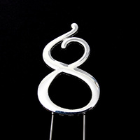 Number 8-Topper Silver large 8cm
