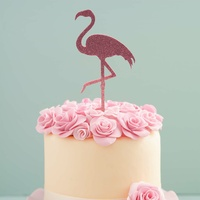Pink Sparkle Flamingo Topper